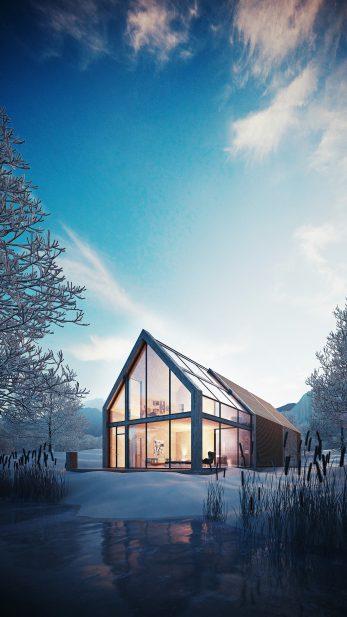 Neubau Architekturvisualisierung blaue Stunde, Blue Hour